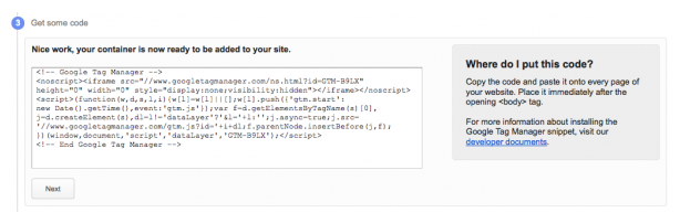 Google Tag Manager Tracking Code