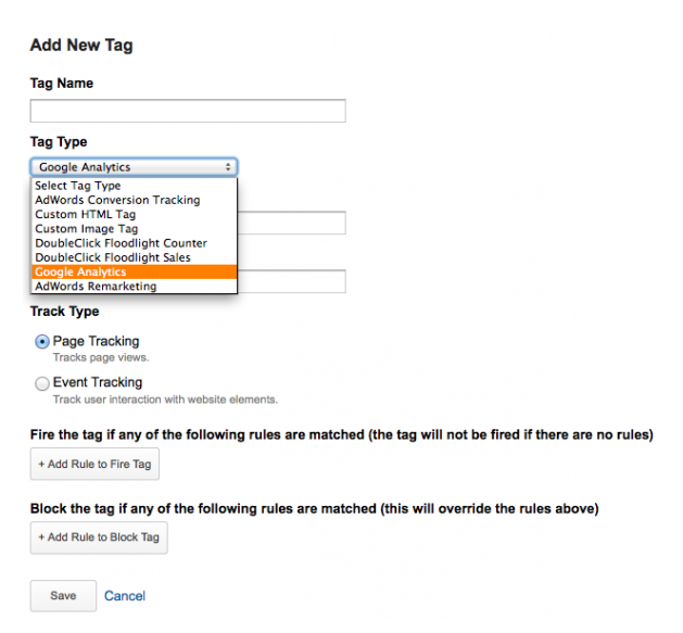 Add New Tag in Tag Manager